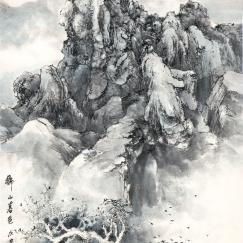 獅子山暮色 戊申二月 | 59.5x120cm