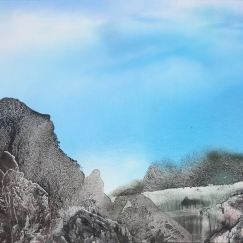 Mountains of Heaven《天界》(No. 66) , 1996, Ink and colour on board 71.12 x 96.52 cm
