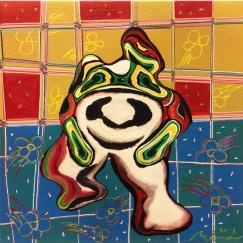 Rabbit panda's Haraodori  うさパンダの腹踊り 2016, Mixed Media, 23 x 23 cm