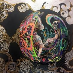 Pegasus & Chrysaor 2017, Acrylic on Canvas,90 x 90 cm