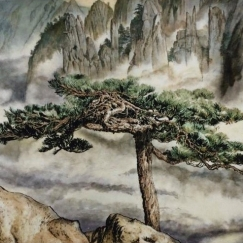 林鎮輝 David Lam,Bracing the Wind-Mt Huang,watercolour ,2012