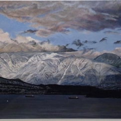林鎮輝 David Lam,Winter sunset-English Bay ,Acrylic , 90's